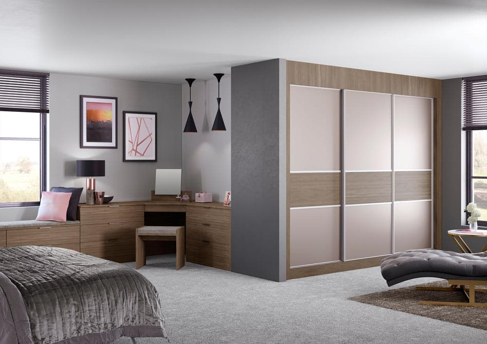 3 piece sliding wardrobe in walnut colour