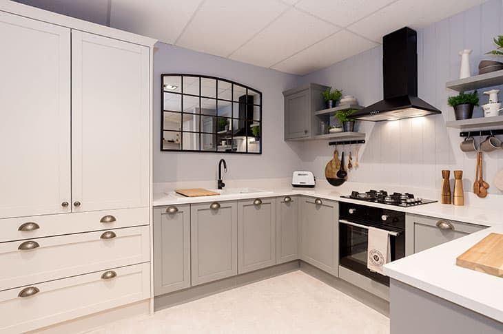 Fitted grey shaker style kitchen