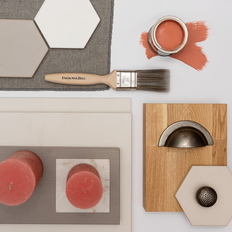 living coral kitchen mood board