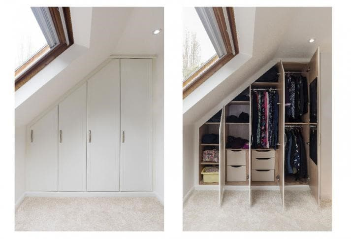 Room with sloping roof show a white built in wardrobe with the doors shut and then open, demonstrating how much storage you can benefit from