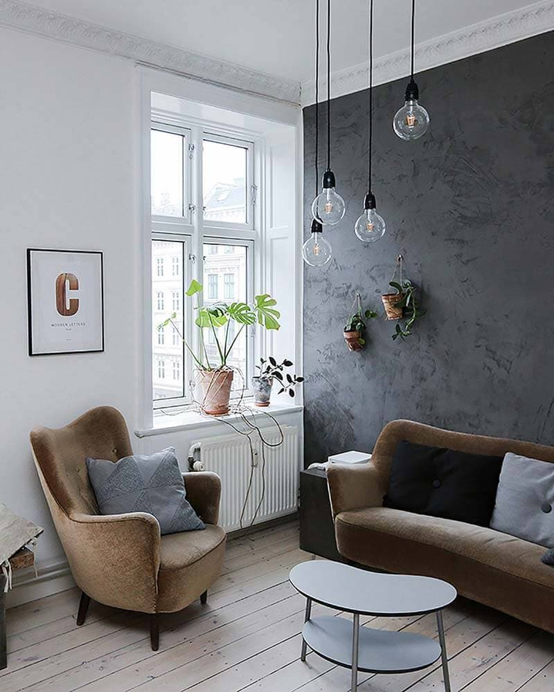 A living room with wooden floors, velvet sofa and armchair with a grey feature wall and hanging plants.