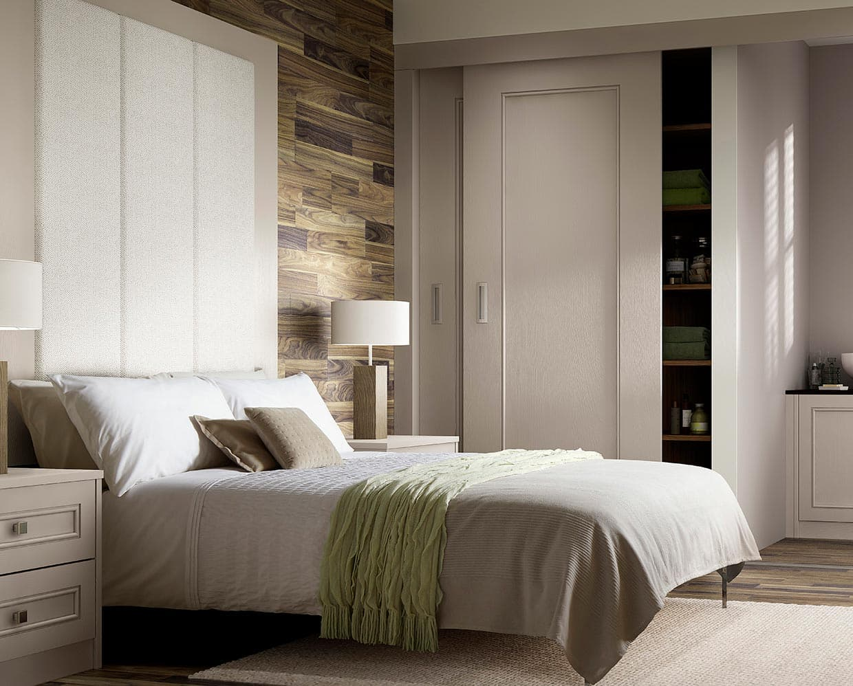 A bedroom styled with open Harpsden sliding wardrobes in light praline.