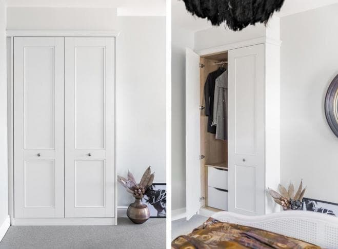 Two images, one that shows a closed, white fitted wardrobe and an angled view of a fitted wardrobe with one open door.