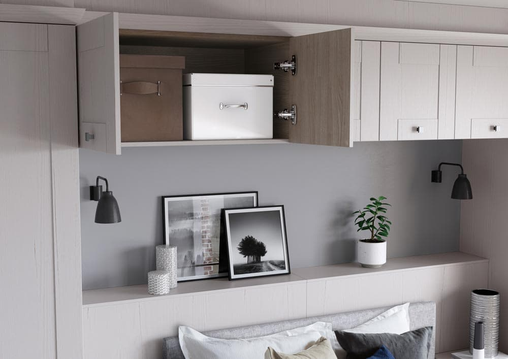 Hammonds white wardrobes with overbed storage