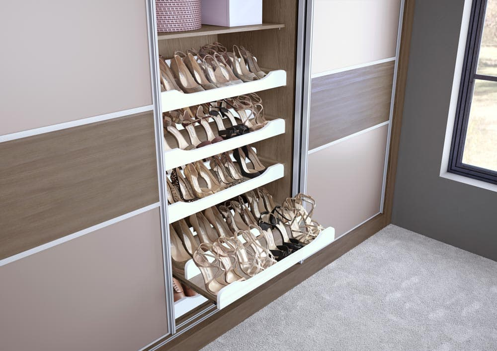 Hammonds shoe rack filled with heels