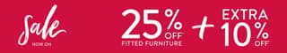 The January Sale is now on. Get 25% off all fitted furniture plus an extra 10% off if you purchase before the 18th January 2021.