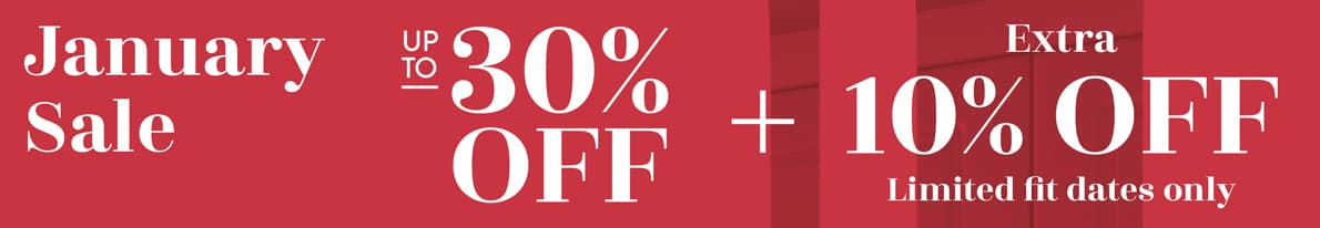 Fitted Wardrobes January Sale Up to 30% off Banner + extra 10% off limited fit dates only