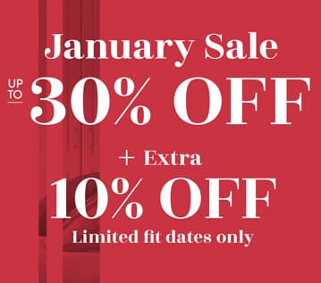 Sliding Wardrobes January Sale Up to 30% off Banner + extra 10% off limited fit dates only