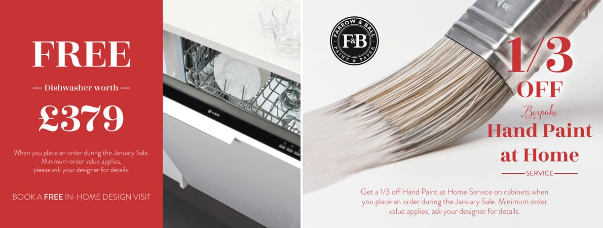 Free dishwasher worth £379 when you place an order during the January Sale