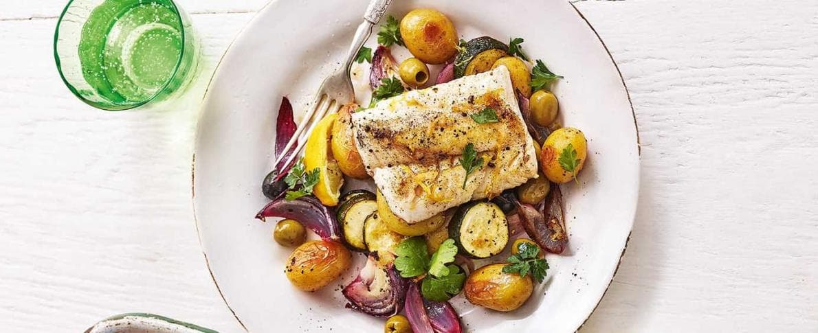 Pan fried cod with olives and lemon
