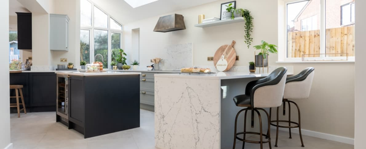 Wide Croft kitchen and breakfast bar with seating