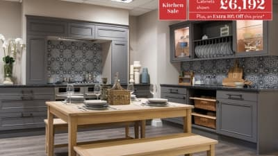 Harraton kitchen with breakfast table and benches with cabinets price
