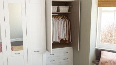 white hammonds wardrobe with open doors and single hanging feature