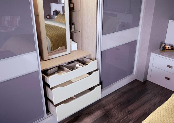 3 piece slim cashmere sliding wardrobe with chester drawers open