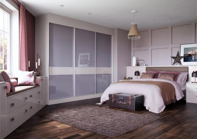 3 piece slim cashmere high gloss wardrobe door with metal taupe finish