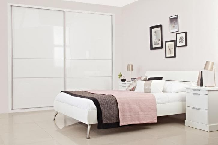 3 piece wide white sliding wardrobe in high gloss
