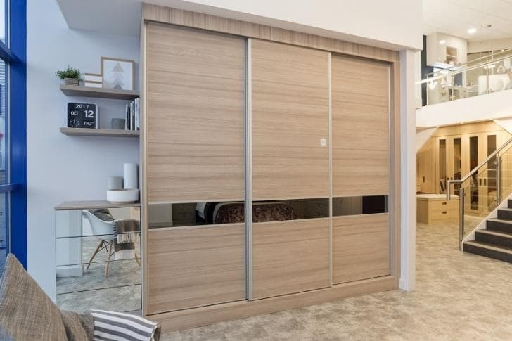 3 piece slim sliding wardrobe on display in Hammonds store