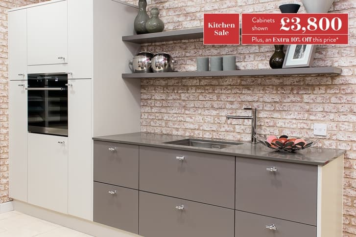 Newton kitchen cabinets, with shelving and sink area, highlighted with price of £3800