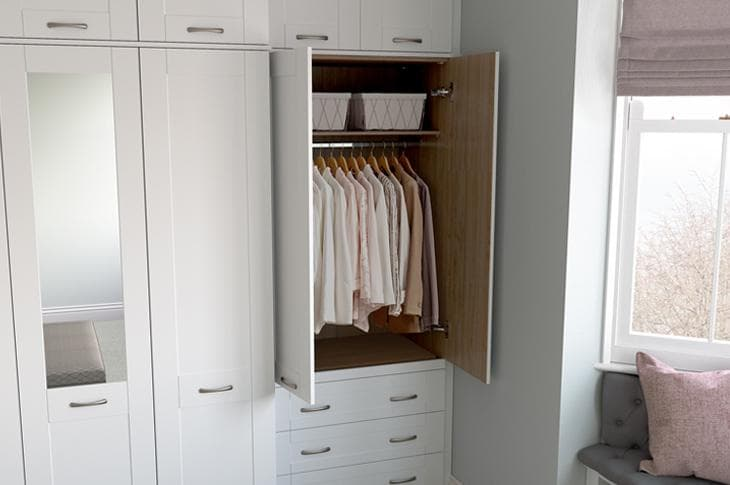 Seton fitted wardrobes open white