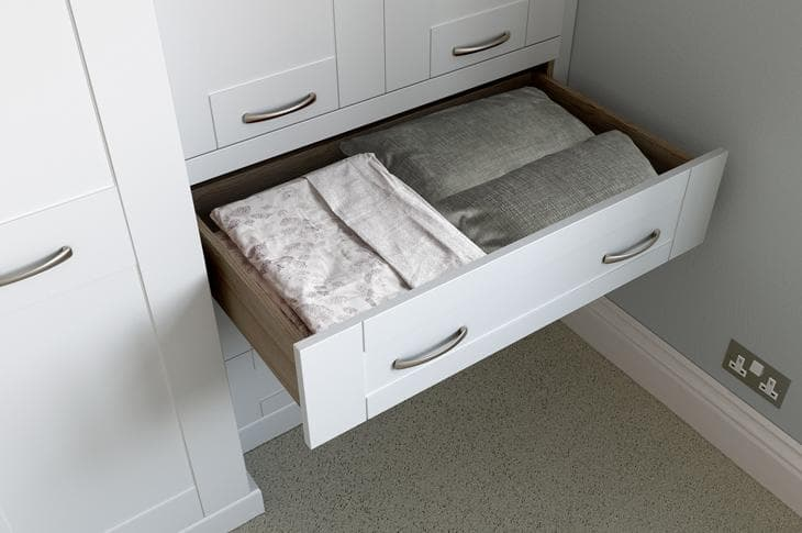 Seton wardrobe drawer open white