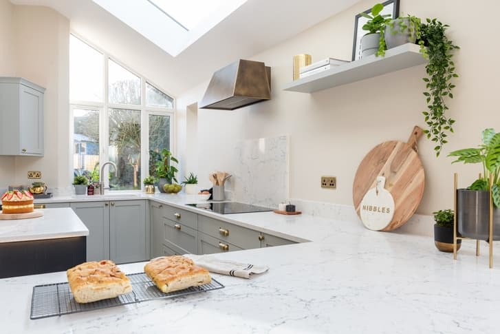 Croft kitchen focusing on worktops with freshly baked bread
