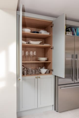 Croft kitchen with open crockery and glass cupboard