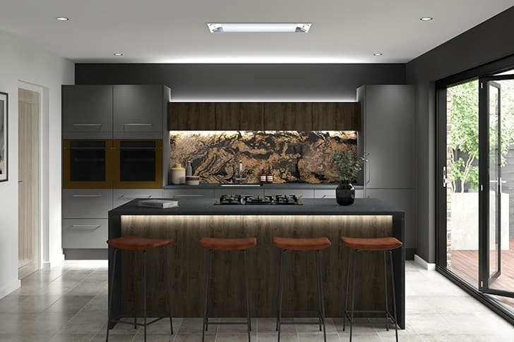 Slab Kitchen Grey and Oak Accent