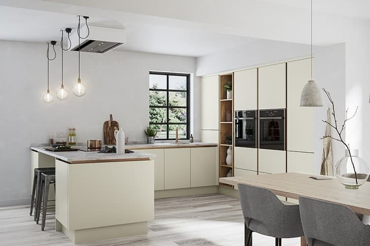 Matt Cream Handleless Kitchen