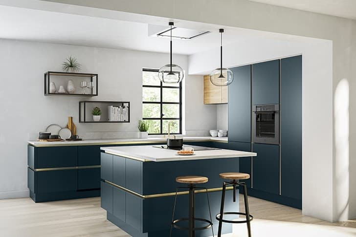 Blue and Oak Handleless Kitchen