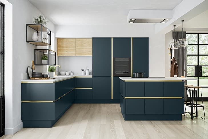 True Handleless Blue Kitchen