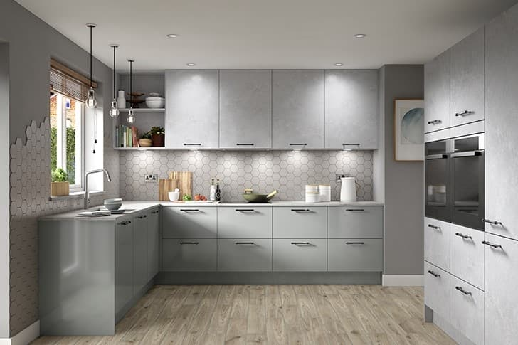 Modern kitchen with grey and concrete doors