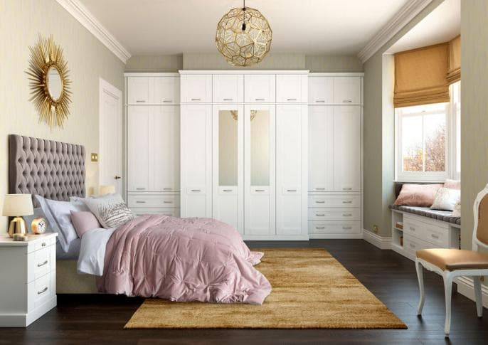 Hammonds Seton bedroom in white with mirrors