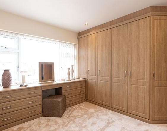 After picture of the Odessa oak fitted bedroom from the Hammonds makeover