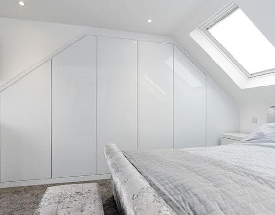 Fitted white gloss wardrobes