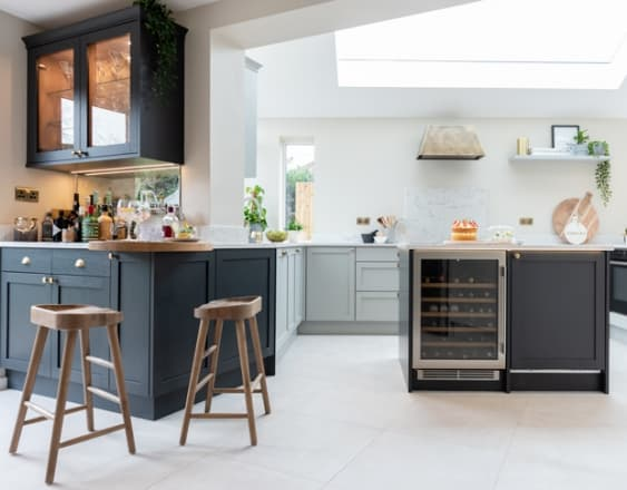 Shaker Style kitchen with island and bar area
