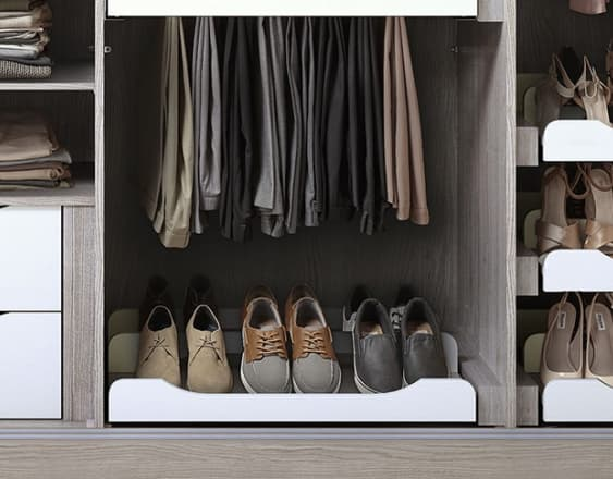 Willesley sliding wardrobe with shoe rack and clothes storage