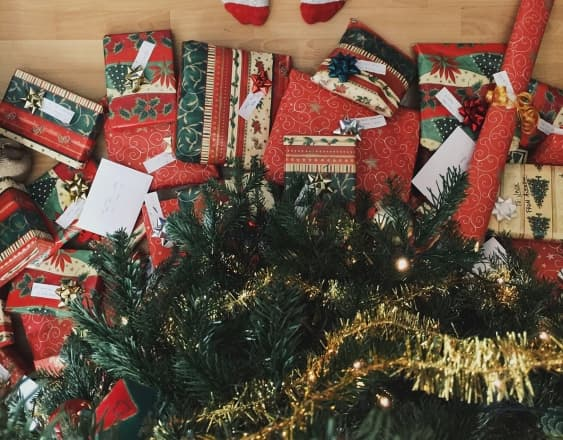 Christmas presents under a tree